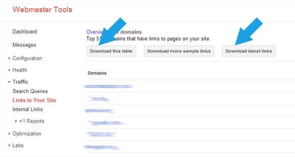 دانلود فایل لینک ها در گوگل وب مستر